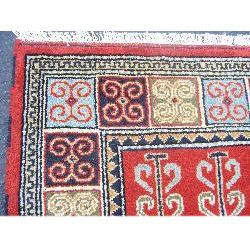 Indo Kazak Hand knotted Red/ Gold Rug (7 x 10)