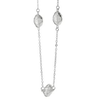 Journee Collection Silvertone CZ 36 inch Clover Necklace