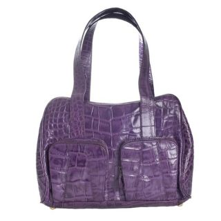 Michael Rome Croc embossed Leather Satchel