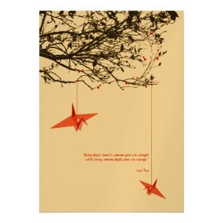 Hanging Origami Paper Cranes Wedding Invitation