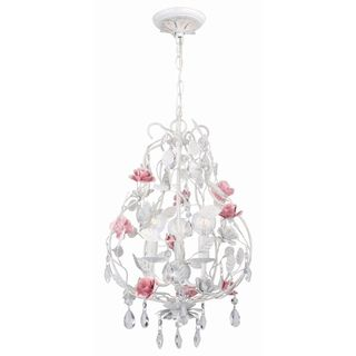 Transitional Antique White 3 light Chandelier