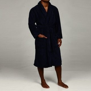 Hanes Mens Navy Drop Needle Soft Touch Robe
