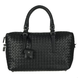 Bottega Veneta Black Woven Leather Bowler Bag