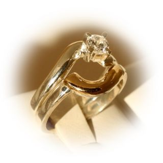 Sterling Silver and 18k Gold You and Me CZ Intertwined Ring (Ecuador