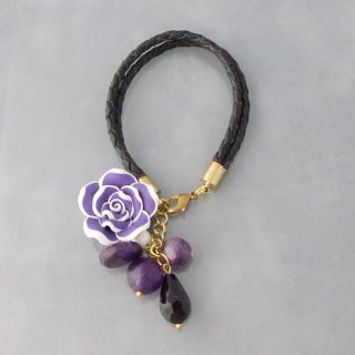 Hand sculptured Purple Rose Clay Real Leather Bracelet (Thailand
