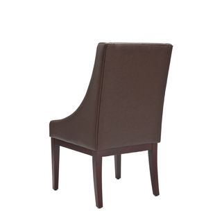 Sloping Arm Brown Leather Chair
