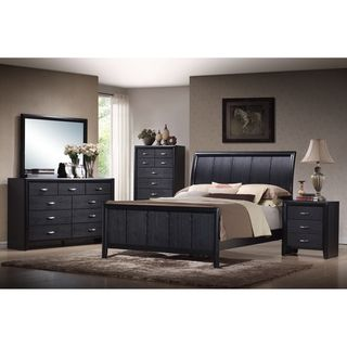 Kima Black Queen 5 piece Wooden Modern Bedroom Set