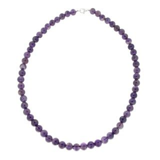 Pearlz Ocean Sterling Silver Round Amethyst Bead Necklace