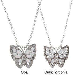 Sterling Silver White CZ or Opal Antique finished Butterfly Necklace