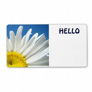 Hello Name Tags White Daisy Flowers Custom Labels