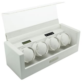 Steinhausen 15 mode White Lacquer Coated Wood Quad Watch Winder