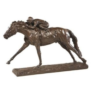 OK Casting 10.5H in. Photo Finish Horse and Jockey   Sculptures
