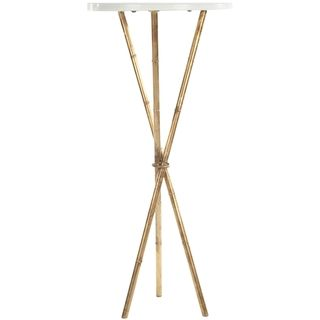 Hidden Treasures White Granite Brass Accent Table