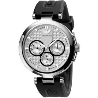 Emporio Armani Womens Donna Black Silicone Strap Chronograph Watch
