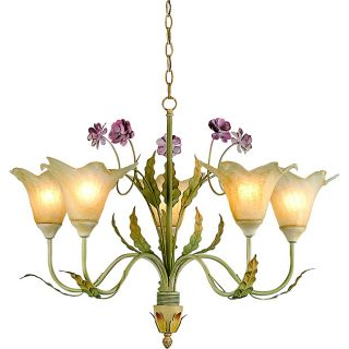 Hand blown Glass 5 light Floral Iron Chandelier