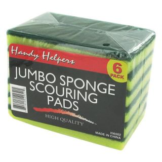Jumbo Sponge Scouring Pad 6 piece Packages (Case of 30)