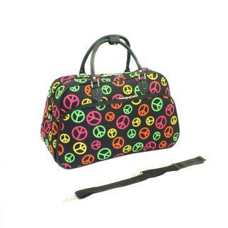 World Traveler Peace Print Shoulder Tote Bag