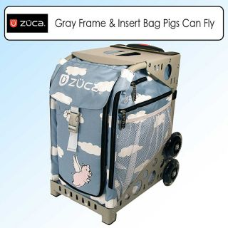 Zuca Sport Kit Pigs Can Fly Grey Frame and Sport Insert Bag