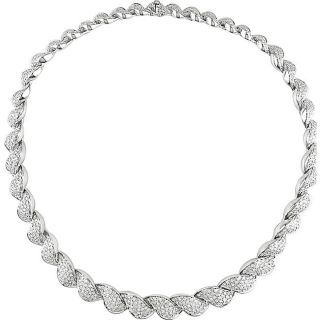 Miadora 18k White Gold 7 7/8ct TDW Diamond Link Necklace (FG, VS