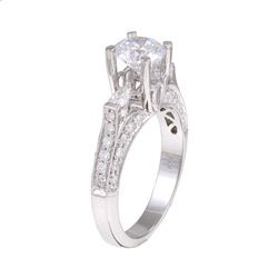 Natalie K 14k Gold 2/3ct TDW Diamond and CZ Engagement Ring (H, SI1