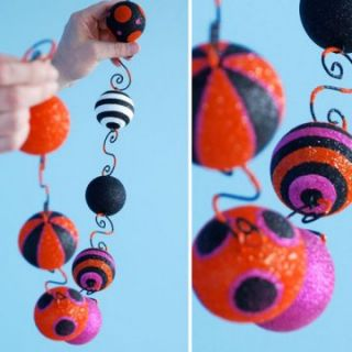 Glitterville Halloween Glittered Ball Garland