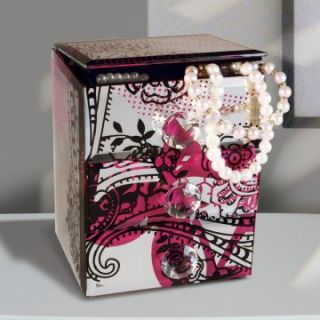 Mirrored Black and Pink Floral 2 Drawer Jewelry Box   4.5W x 5.75H in