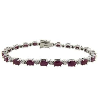 Sterling Silver Ruby and Diamond Accent Bracelet