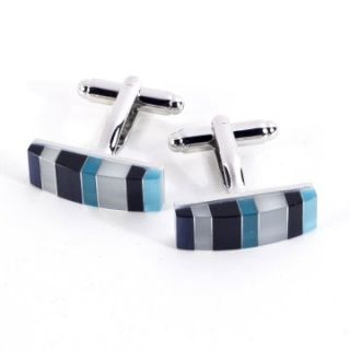 Bey Berk Rhodium Plated Cufflinks with Semi Precious Multi Color