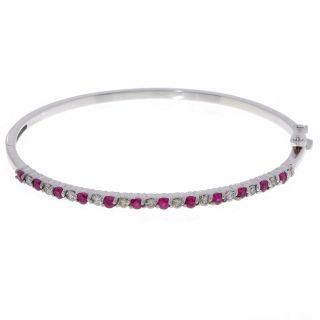 14k White Gold 3/4ct TDW Diamond Ruby Bangle