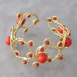 Goldtone Brass Red Coral Open Swirl Wrap Cuff (Thailand)