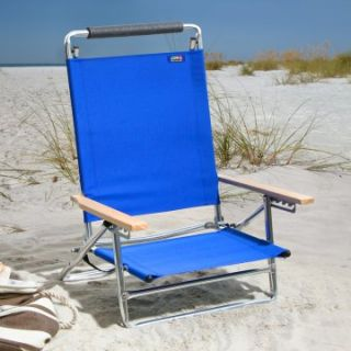 Copa 5 Position Lay Flat Aluminum Beach Chair  Atlantic Blue   Beach