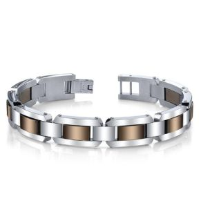 Stainless Steel Mens Brown Ion plated Link Bracelet