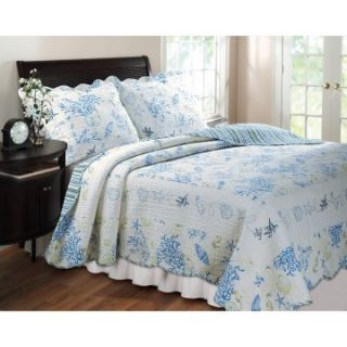 Greenland Home Fashions Coral   2 Piece Quilt Set   Blue   Twin Sets