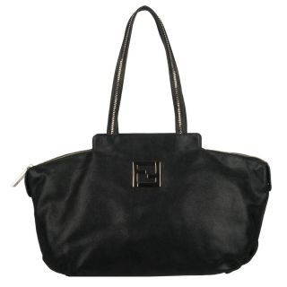 Fendi Chains Black Suede Leather Tote Bag