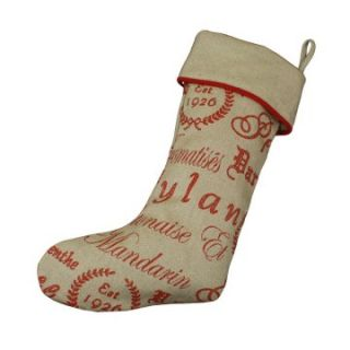 Chooty and Co. Tea House Ruby / Wisdom Burlap Stocking   Christmas
