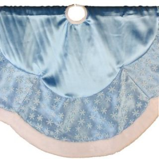 48 in. Light Blue Satin and Glitter Print on Sheer Organza Tree Skirt