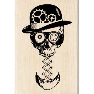 Inkadinkado Halloween Steampunk Skull Mounted Rubber Stamp