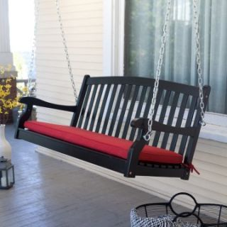 Pleasant Bay Wood Painted Porch Swing   Black   Porch Swings at