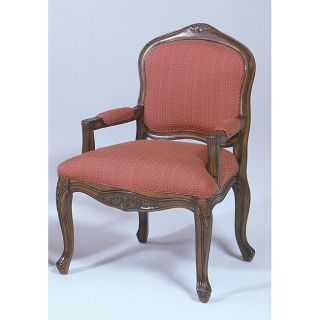 Pecan and Gold Fabric Finish French Provincial Chair