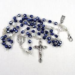 Navy Crystal 6 mm Catholic Wedding Jewelry Set