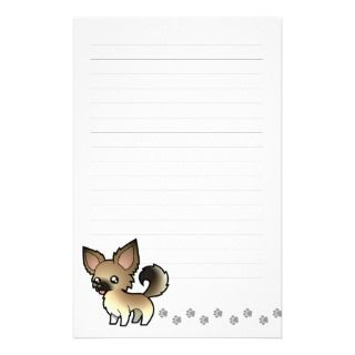 Cartoon Chihuahua (fawn sable long coat) stationery by SugarVsSpice