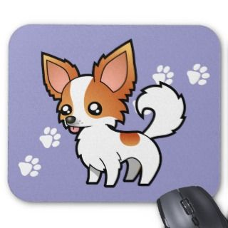 Cartoon Chihuahua (red parti long coat) mousepads by SugarVsSpice