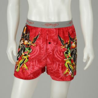 Ed Hardy Mens Coral Cotton Boxer Underwear