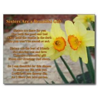 Sisters poem Post card