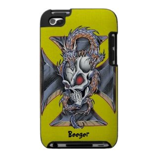 IPod Case   Iron Cross Skull & Dragon