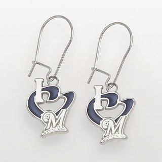 Milwaukee Brewers Sterling Silver Heart Logo Drop Earrings