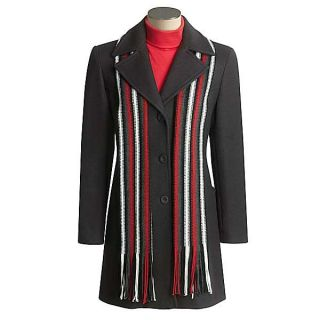 Stephanie Mathews Wool Coat with Scarf   Single Breasted (For Women