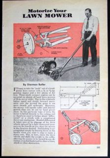 Vintage Reel Mower 1946 How to Motorize Plans Gas Engine
