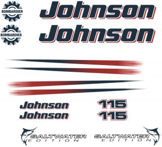 Johnson 115HP 115 HP Outboard Motor Hood Stickers Decals Graphics