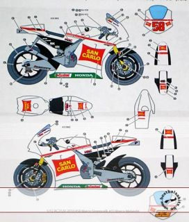 SIMONCELLI Melandri Moto GP 10 Decal for Tamiya 1 12 Honda RC211V